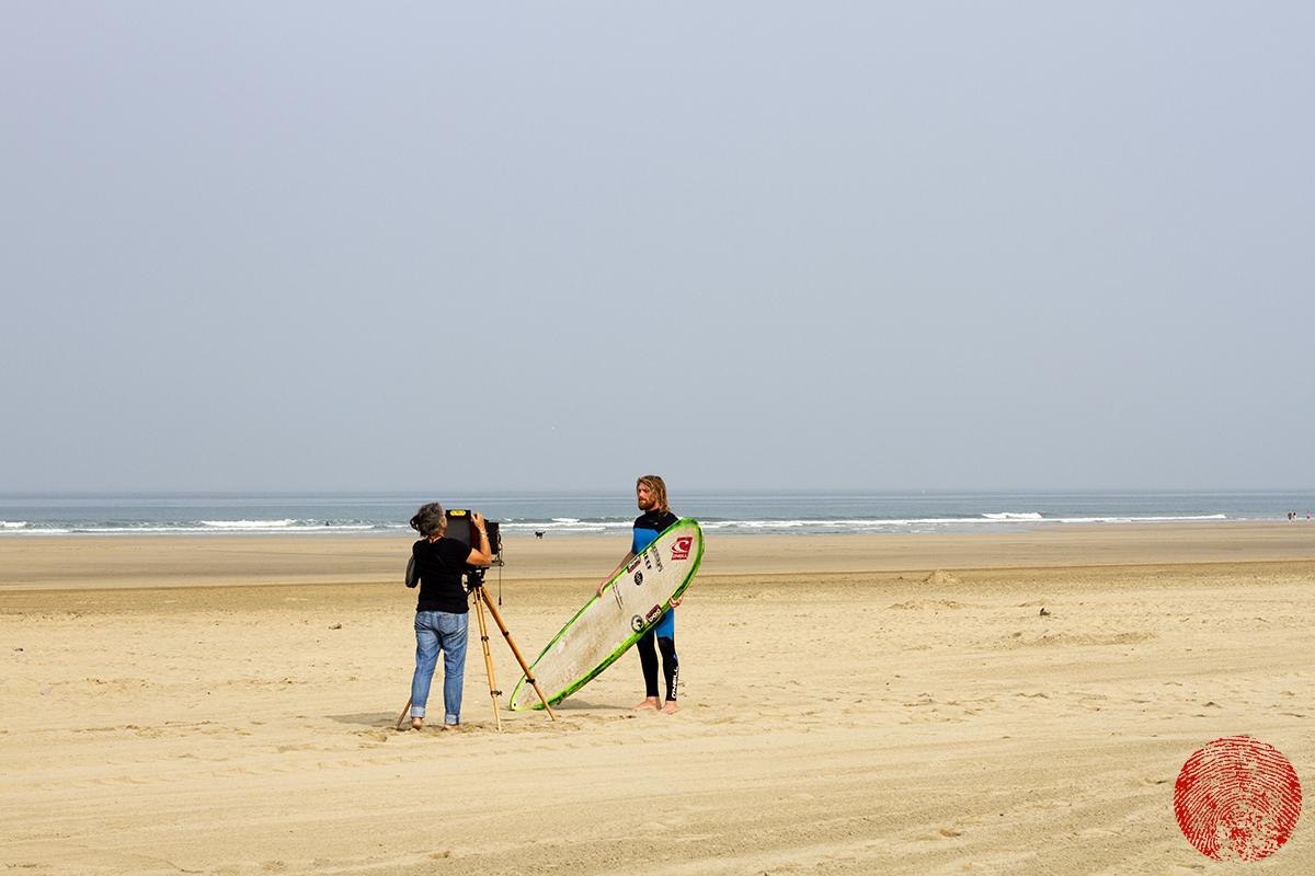 photographer joni sternbach making tin type photographic portrait of surfer ben skinner