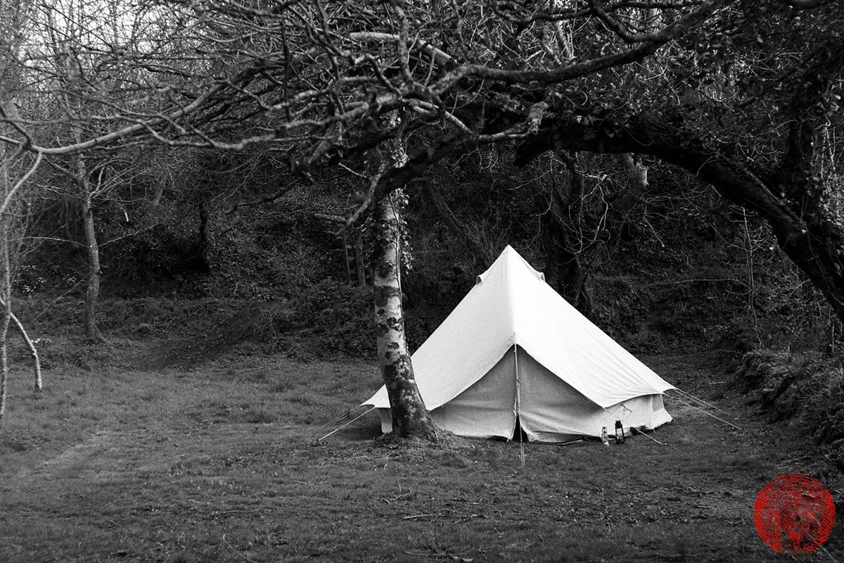 a bell tent, shot with a zorki 4k rangefinder vintage camera