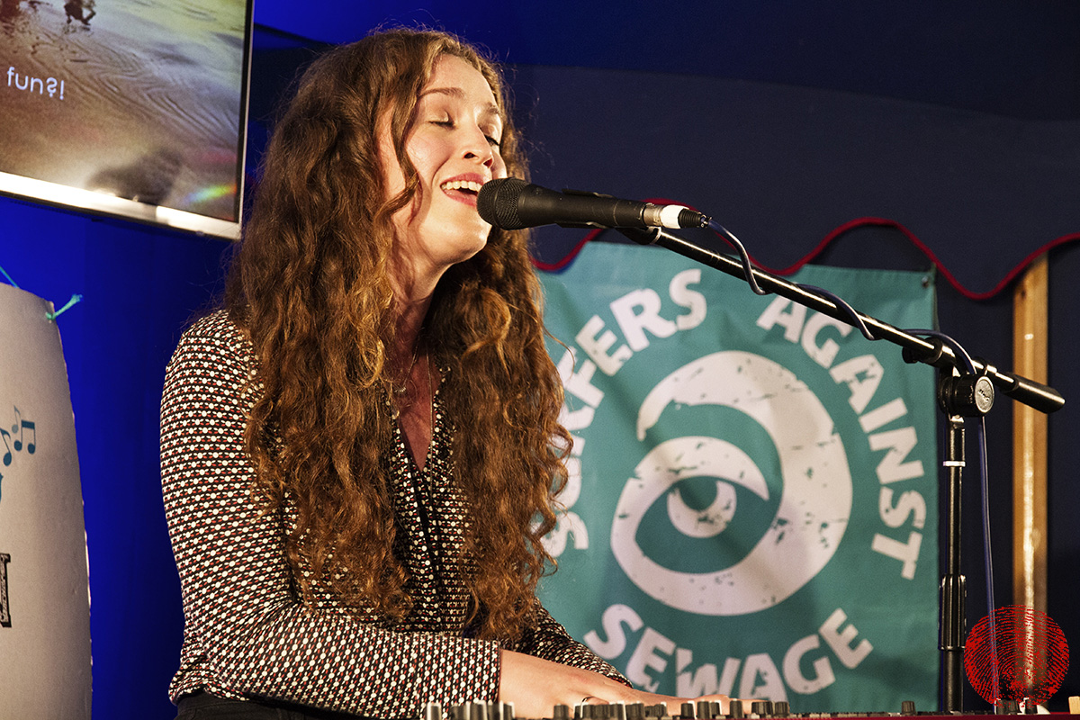 rae morris performing an exclusive and intimate gig in the surfers against sewage tent on saturday at somersault festival 2015