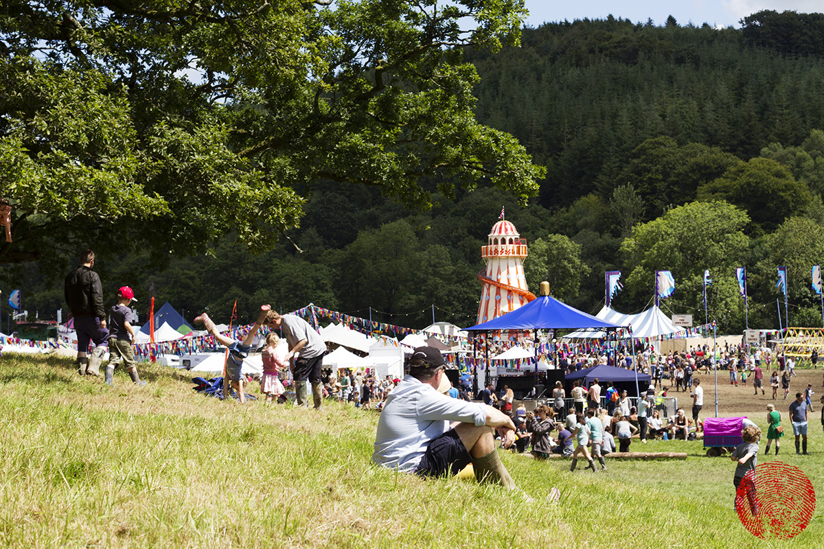 an overview of the somersault festival site,, with helter skelter in the distance