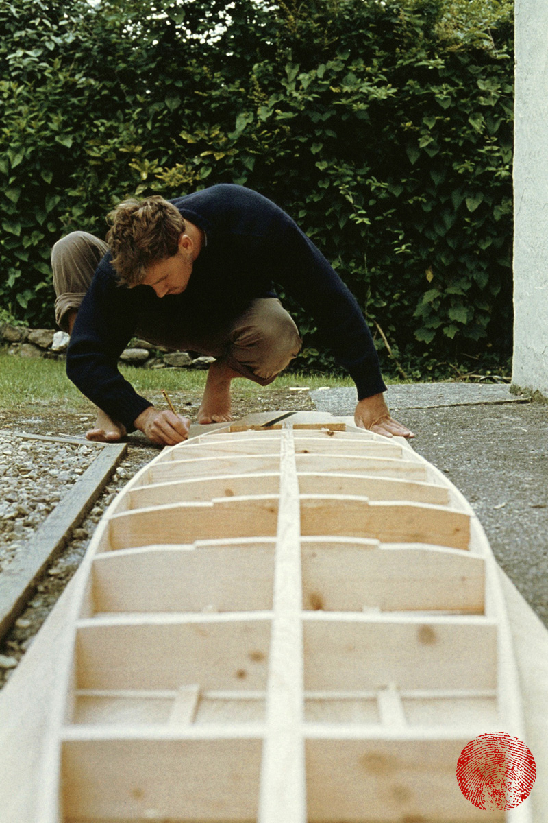 harry knight building the framework for a wooden cigar box surf board